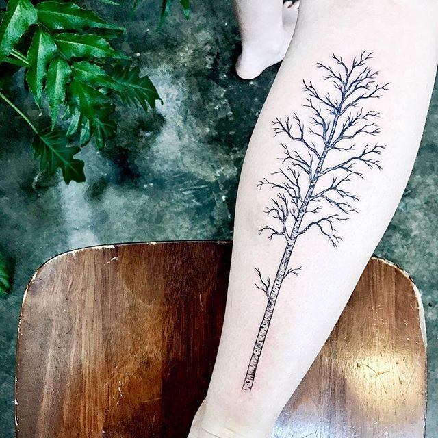 [ birch ] thanks Emma for trusting me with your first tattoo • back of the calf birch tree