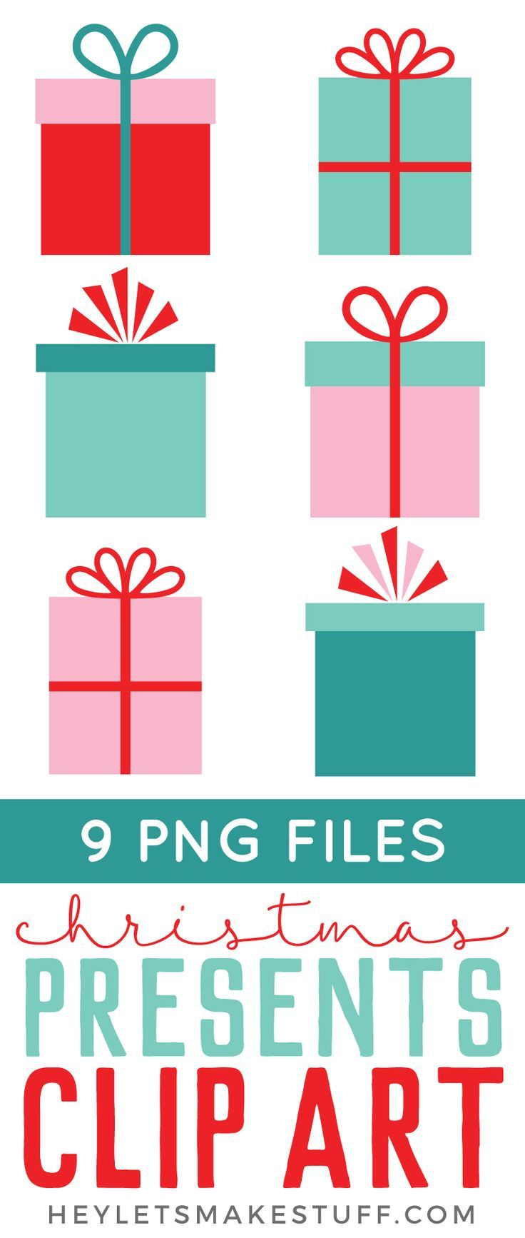 Adorable Christmas gifts clip art is perfect for all of your holiday projects! Use them on Christmas cards, gift tags, holiday party fliers, and more!