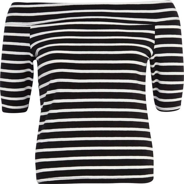 River Island Black and white stripe bardot top ($12) ❤ liked on Polyvore featuring tops, sale, white and black top, off shoulder tops, elbow length sleeve tops, black white stripe top and striped top