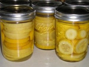 Squash - USDA does NOT recommend canning (both water bath & pressure cooker) any summer squash.  They've pulled all their printed info on the subject because there were discrepancies in the  processing times (anywhere from 40 min. to 90 min.).  They recommend freezing or dehydrating.