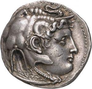 Tetradracma - argento - Alessandria, Egitto (310-305 a.C.) - recto: Alessandro III con copricapo a protome elefantina, corno di Ammon vs. dx - Münzkabinett Berlin