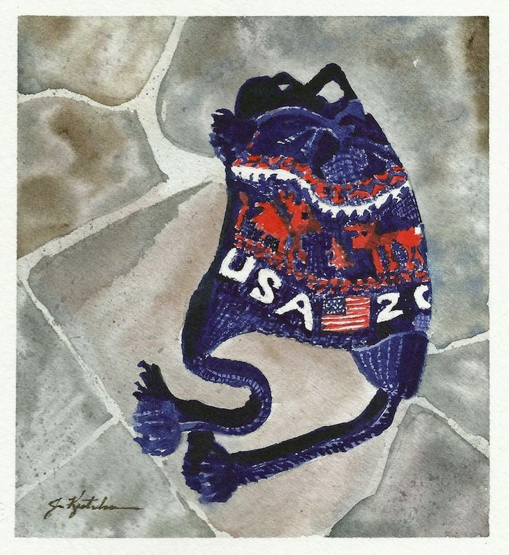http://www.jkretschmer.com/pages/30in30.html Hats Off to Polina Edmunds - Team USA 2014 Olympic Hat original watercolor painting by Jennifer Kretschmer