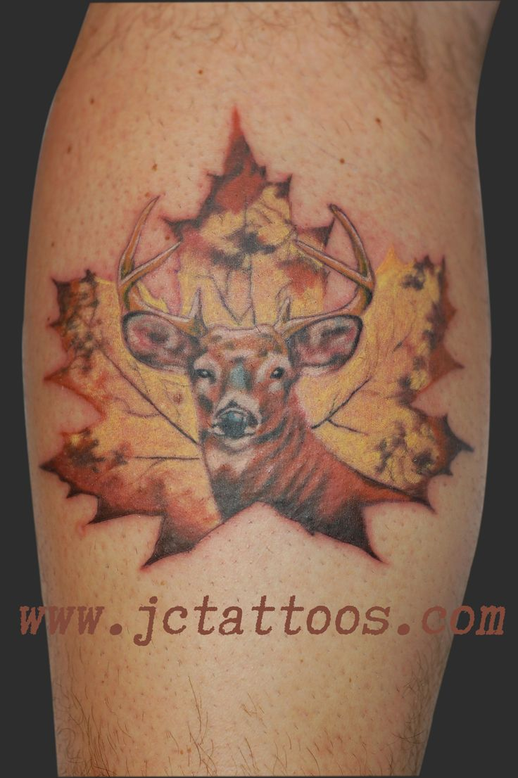 Name canadian flag ripping through skin tattoo designjpg pictures - Buck Deer Canadiana Maple Leaf Hunter Tattoo
