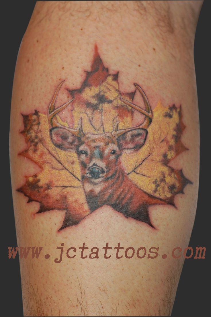 ... Tattoos, Hunter Tattoo Ideas, Buck Tattoo Ideas, Maple Leaves, Maple