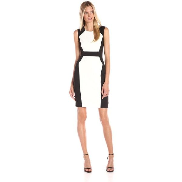 Calvin Klein Women's Colro Block Scuba Sheath ($40) ❤ liked on Polyvore featuring dresses, white sheath dress, round neck sleeveless dress, sleeveless sheath dress, color block sheath dresses and alessandra sleeveless print-blocked dress