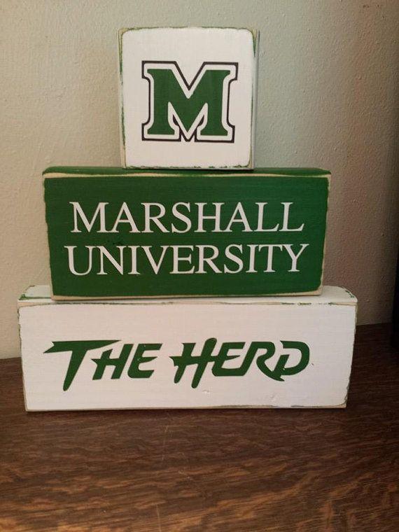 Marshall University  Thundering Herd  WOOD Block by WithLoVeByKara