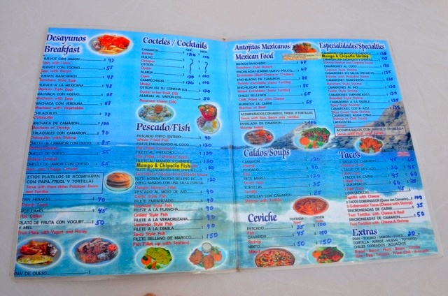 Seafood menu of Mariscos La Morena restaurant.  Shrimp cocktail and Ceviche are just a few of the menu options.  Margaritas and variety of Mexican cold beer are also available.     #mariscoslamorena