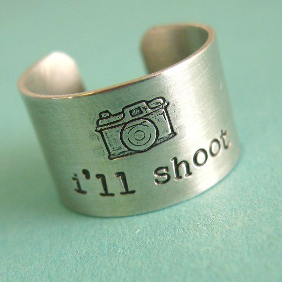 Photographer Ring - I'll shoot - camera ring in aluminum - wide band ring - Statement Ring: