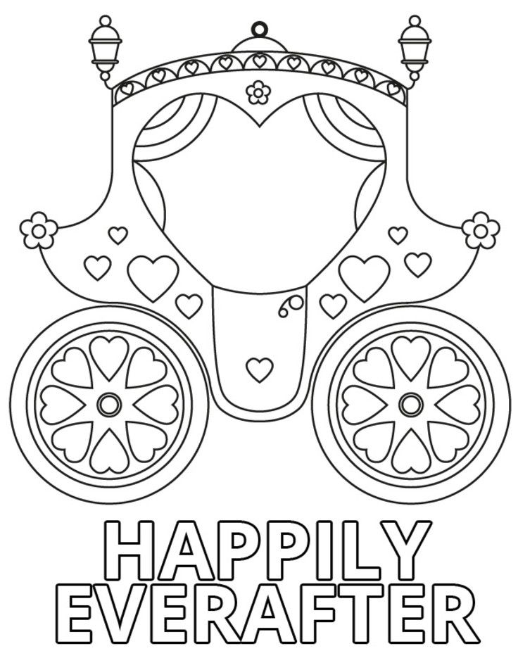 Happily Ever After Carriage Coloring Pages