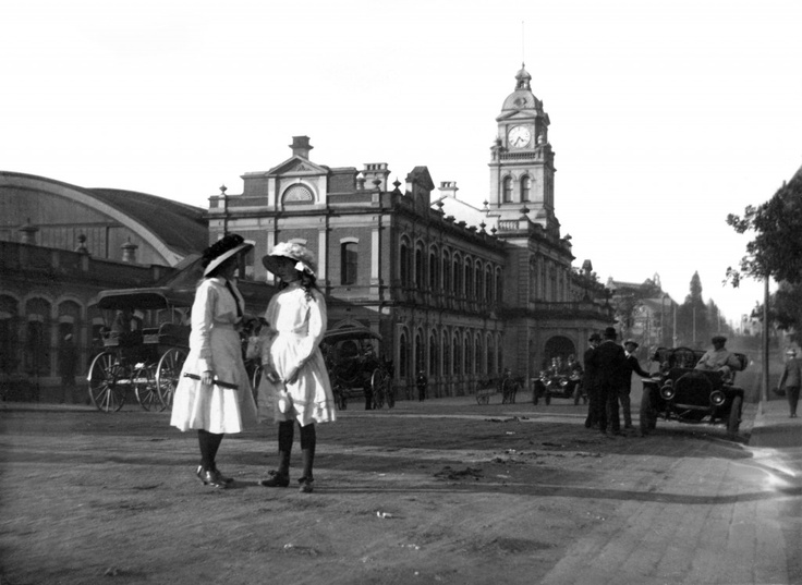 "Here is the story of Brisbane's Central Railway Station: A key meeting point in the city for over 120 years, the first station, a structure made of wood and corrugated galvanised iron, was replaced by an elegant and far grander new station completed in 1901. After 1915, a common Brisbane saying was ""Meet you under the clocks"", which fronted Ann Street, and indicated what time, and destination, would be the next departures. #hereisourstory (Image courtesy of Queensland Rail Historic…"