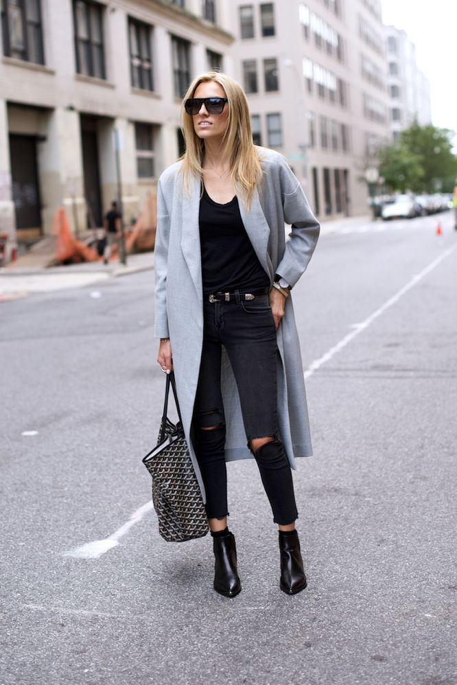 2015 Coat: AYR/  Jeans: J Brand/  Tee: Splendid/  Boots: Acne  Belt: Saint Laurent / Bag: Goyard/  Watch: Daniel Wellington