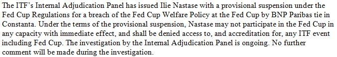 Mission Accomplished: ROU 3, GBR 2. The ITF has released this statement regarding the provisional suspension of Ilie Nastase. This is what he said: The Age Sport Updated: 'I don't give a shit if they fine me or don't let me sit in the captain's chair.' http://www.theage.com.au/sport/tennis/suspended-ilie-nastase-unrepentant-after-verbal-abuse-allegations-at-fed-cup-20170423-gvqx2l …
