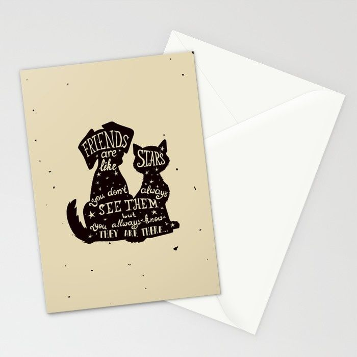 Design For Pets Lover , The Real Friends for Humans A Sweet Lovely Cute Creatures Set of folded stationery cards printed on bright white, smooth card stock to bring your personal artistic style to everyday correspondence. Each card is blank on the inside and includes a soft white, European fold envelope for mailing.