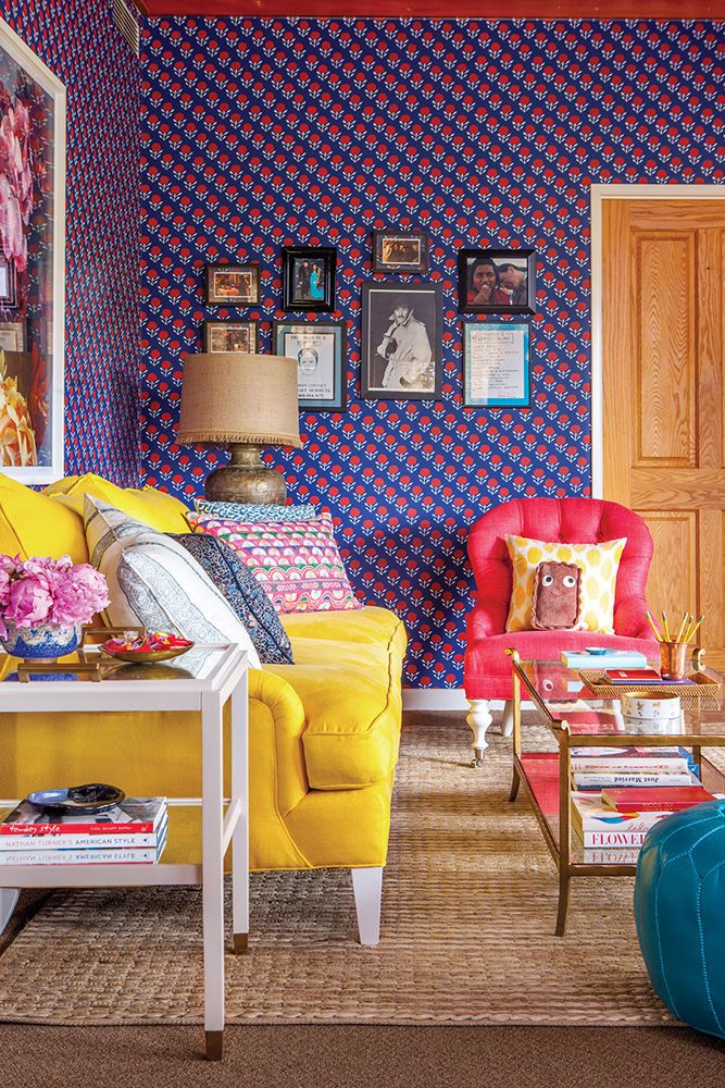 Colorful Living Room With Violet Floral Wallpaper, Pantone Ultra Violet,  Bright Yellow Sofa, Part 39