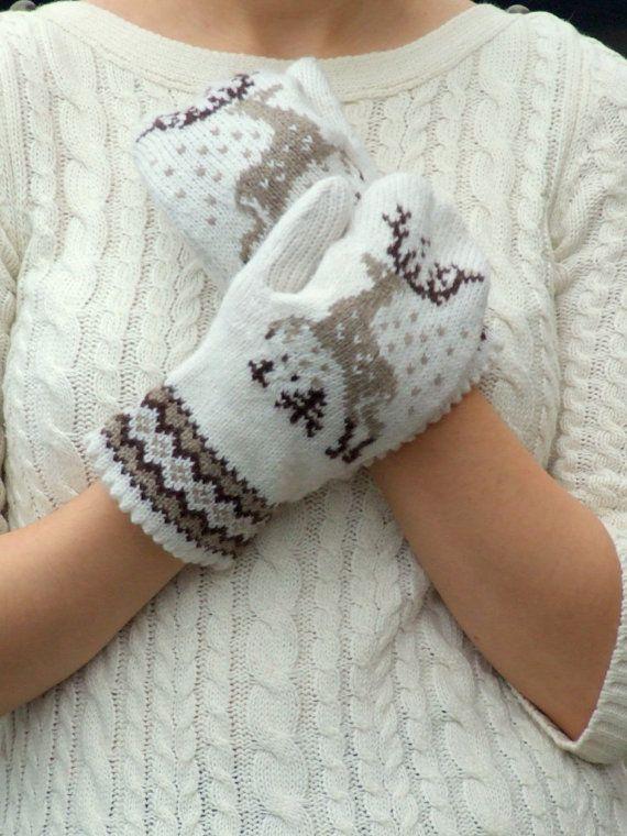 Knit mittens nordic reindeer ornament wool brown and by CozySeason