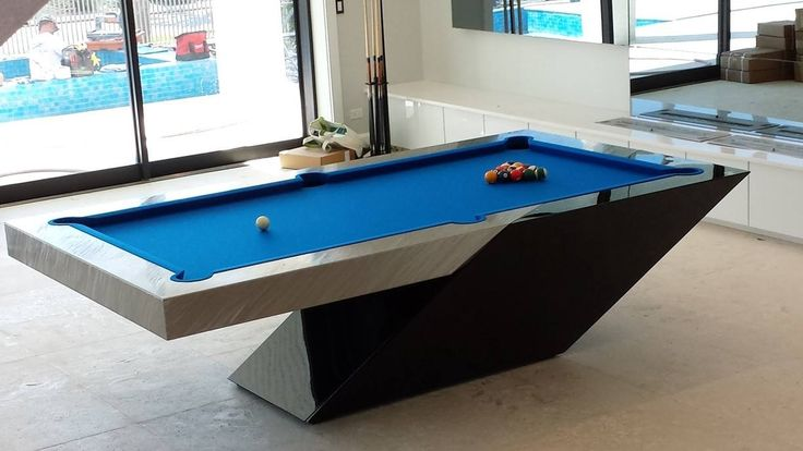 CATALINA Pool Table by MITCHELL | Exclusive Billiard Designs | done in Black Lacquer Automotive Paint | High Gloss Finish | High Energy Finish on Stainless Steel Apron and Rail Top | Euro Blue Billiard Cloth |