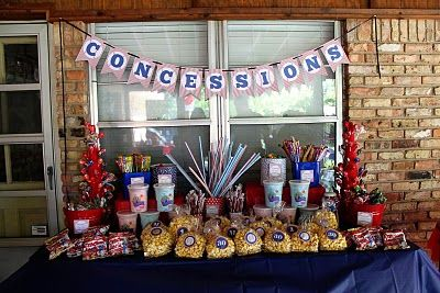 Concession table for an movie in the park event. Colors go along with a patriotic theme, but could be tweaked to fit any event's theme