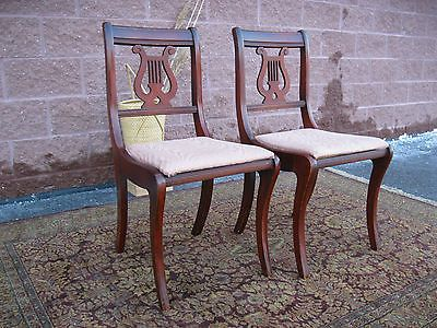 Two 1940u0027s Mahogany Lyre Back Dining Chairs Saber Leg Duncan Phyfe Dining  Chairs