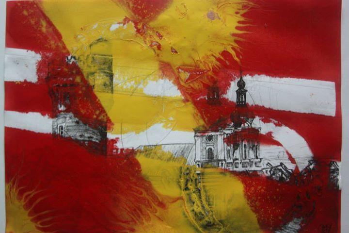 Cvilín - abstraktní malba - ilustrace ke knize Sáry Rejdové - A4, Tužka, úhel, spreje