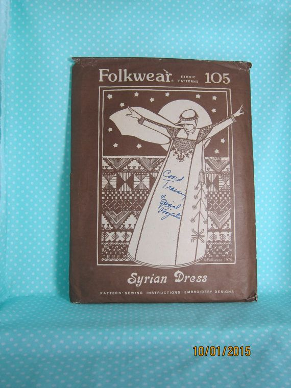 Syrian Dress. Ethnic Patterns. Folkwear 105. Embroidery Pattern Included.