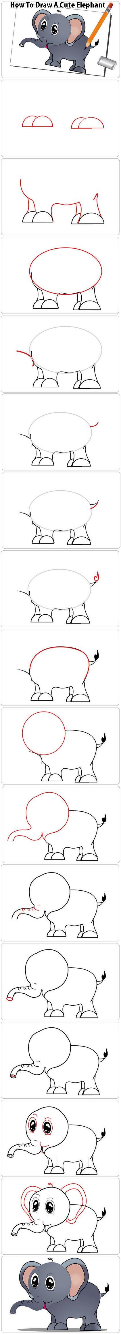 How to Draw a Elephant For Kids, Step by StepHow To Draw A Cute Elephant  http://www.wikihow.com/Draw-a-Cute-Elephant