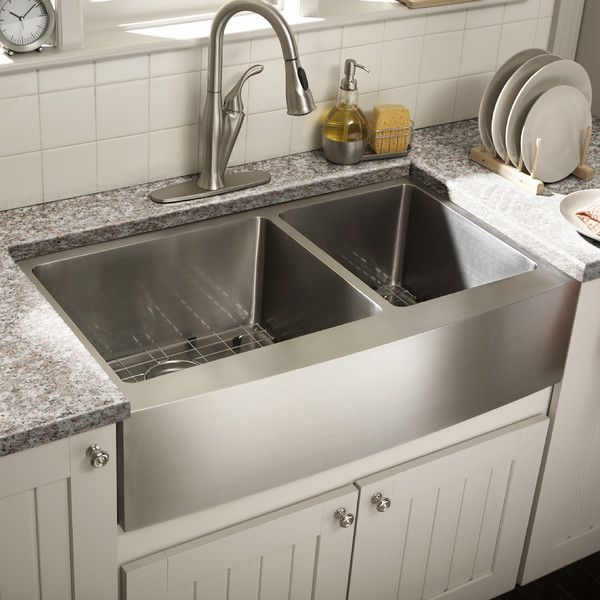 Features:  -Double bowl kitchen sink with 60/40 offset.  -Brushed satin finish.  Installation Type: -Farmhouse/Apron.  Finish: -Satin brush.  Hardware Finish: -Satin brush.  Material: -Stainless steel