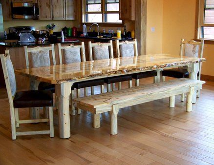 Beetle Kill Pine Live Edge Dining Table With Chairs And Bench Rustic Furnit