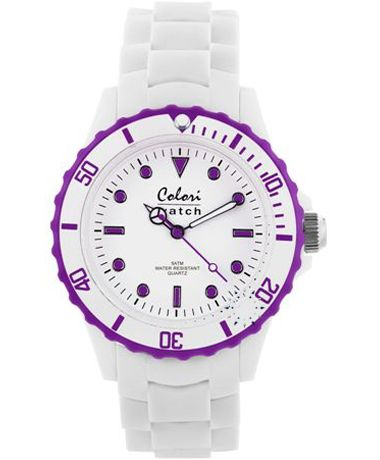 COLORI White Purple White Silicone Strap Τιμή: 36€ http://www.oroloi.gr/product_info.php?products_id=34900