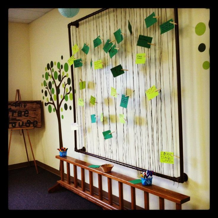 intergenerational prayer wall - any frame will work, strung with yarn, rope, twine, or ribbon, and attach prayers with clothespins