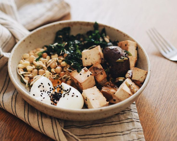 Lunch! Sprouts Cavolo nero stir-fried mushrooms and tofu soft egg  by juliaostro