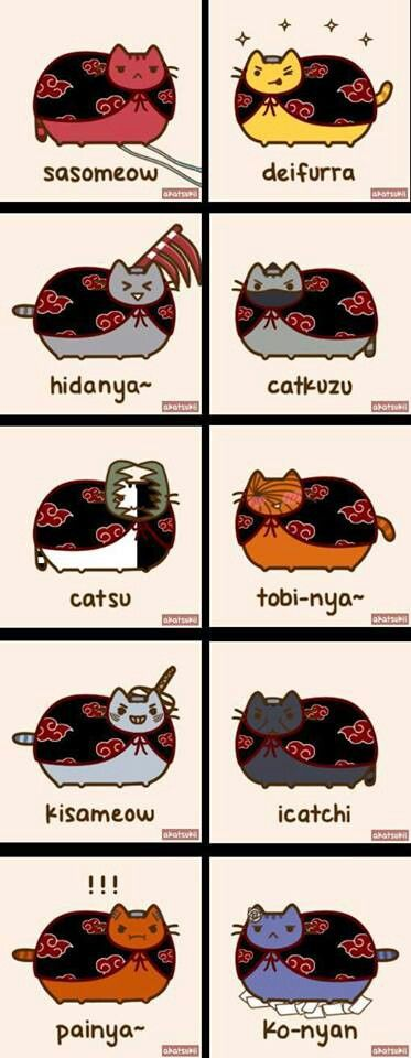 AHHH! LOVE IT!!! Pusheen Akatsuki!!! DX
