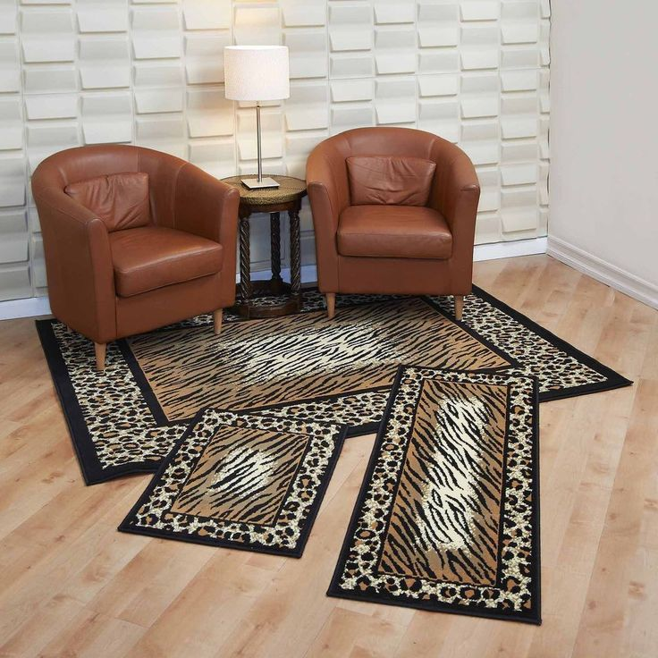 Rug Set Leopard Skin Capri 3 Pc Wood Tile Floor 100 % Heavy Duty Polyolefin Yarn #RugsHome
