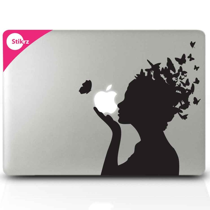 macbook decals vinyl laptop stickers butterfly girl wall computer geekery removable decal. Black Bedroom Furniture Sets. Home Design Ideas