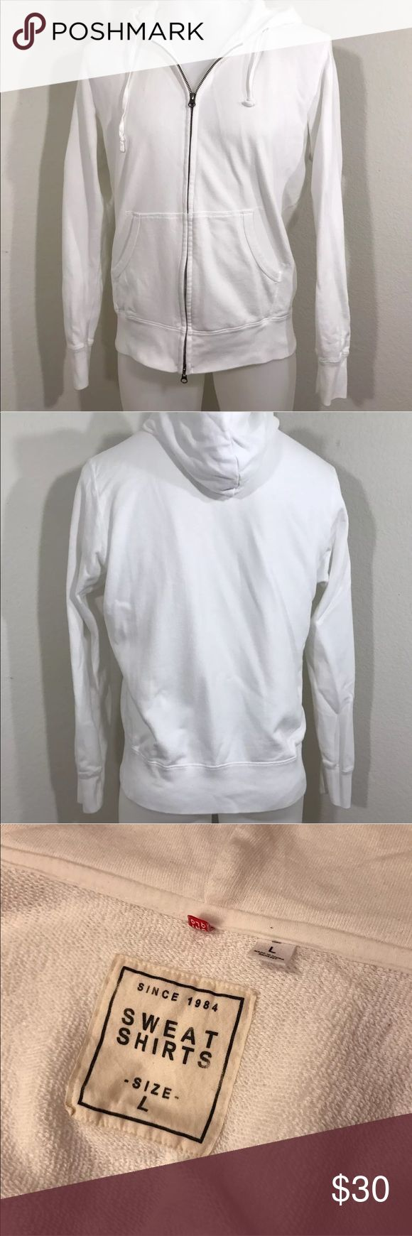 """White Uniqlo Hoodie Size Large White Uniqlo Hoodie Size Large  EUC - Please see photos as we do consider them to be a part of the description.  This item listed was purchased directly from John Barrowman of Doctor Who, Torchwood & Arrow fame from his garage sale in March 2017. These items all belonged to John Barrowman, and were used by John Barrowman.   Approximate measurements laying flat  Collar to shoulder 5""""  Shoulder to end of sleeve 27.5""""  Across chest pit to pit 25""""  Length shoulder…"""