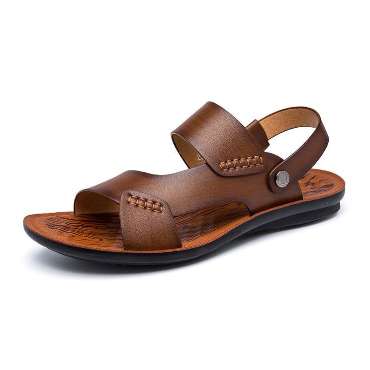Summer Sandals For Men Genuine Cowhide Leather Shoes Open Toe Men Sandals Slippers Fashion Casual Beach Shoes Men