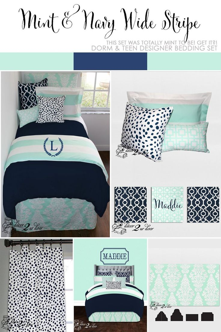 Mint & Navy Wide Stripe Designer Teen Girl & Dorm Room Bedding Set