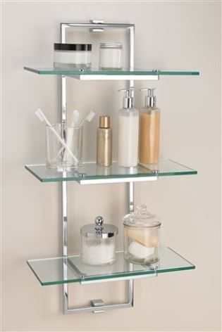 Glass Shelf Unit For Bathroom Home Decorations Pinterest Glass Shelves Bathroom Chrome