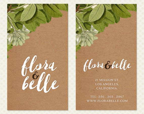 Kraft Paper Flowers Business Card Design. Vintage Shabby Chic Antique Branding Brown Vintage Branding Vintage Business Card Design