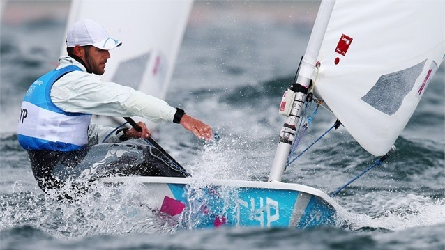 Pavlos Kontides of Cyprus competes in the men's Laser Sailing on Day 8 at Weymouth and Portland.