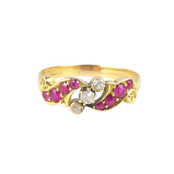 Victorian Ruby Diamond Ring, In 18ct Gold, Antique Diamond Ruby Ring, Antique Engagement Ring, Victorian Ruby Engagement Ring
