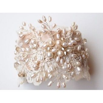 Vintage lace and pearl wedding cuff