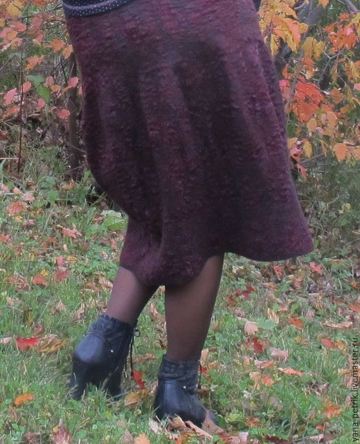 Юбка валяная Danielle - бордовый, однотонный, юбка валяная, юбка баллон, валяние юбки