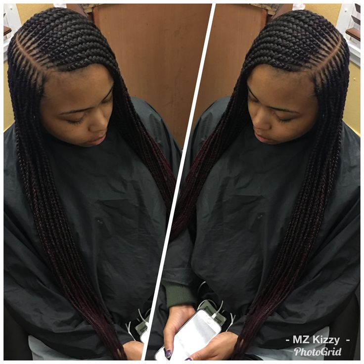 2 layer feeder braids w/side part | African braids