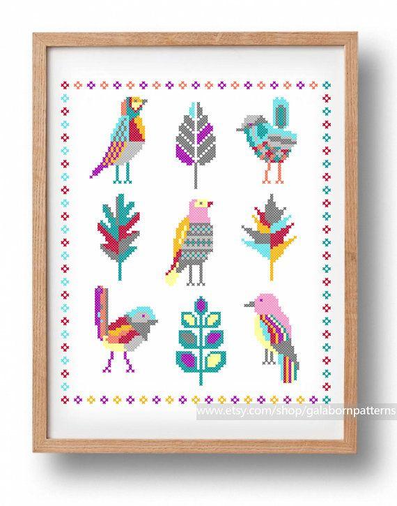 Fairy birds - PDF Counted cross stitch pattern - Modern embroidery - Large cross stitch
