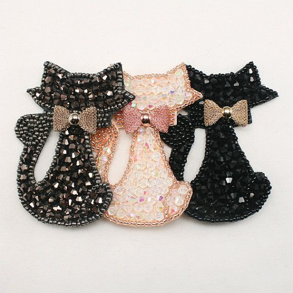 1 pc of Cat Animal Rhinestone applique beaded Headband by annielov, $5.00