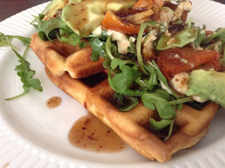 Savoury waffle. Best seller at the waffle hut.