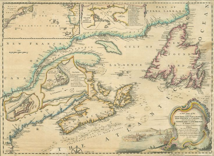 """""""A New Chart of the Coast of New England, Nova Scotia, New France or Canada"""" by Thomas Jeffreys, (c. 1745). See all those ports listed along the coastline? Forget gold, pirates were interested in people living there. #cdnhistory #piratesincanada"""