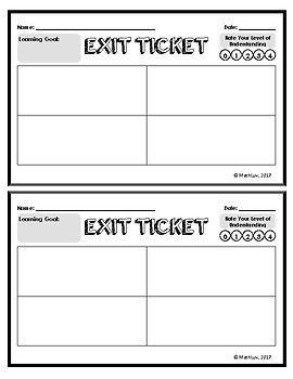 Exit Ticket Template Live Math Luv Pinterest Lesson Plans