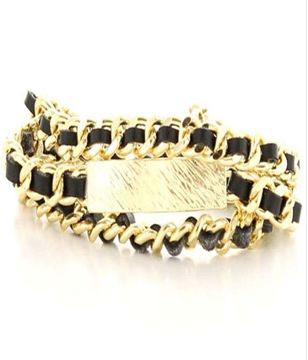 SONYA GOLD WOVEN CHAIN LINK BRACELET  The chicest of the chic. The Sonya bracelet is the ultimate trend addition to your arm party. Consisting of a wrap-around gold-plated chain link and finished with a feature name plate. Wear it anytime, anywhere.