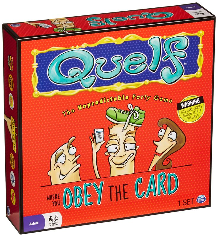 Quelf Board Game- This is a funny and sometimes embarrassing game, but it's so worth it to have a good time with family and friends.